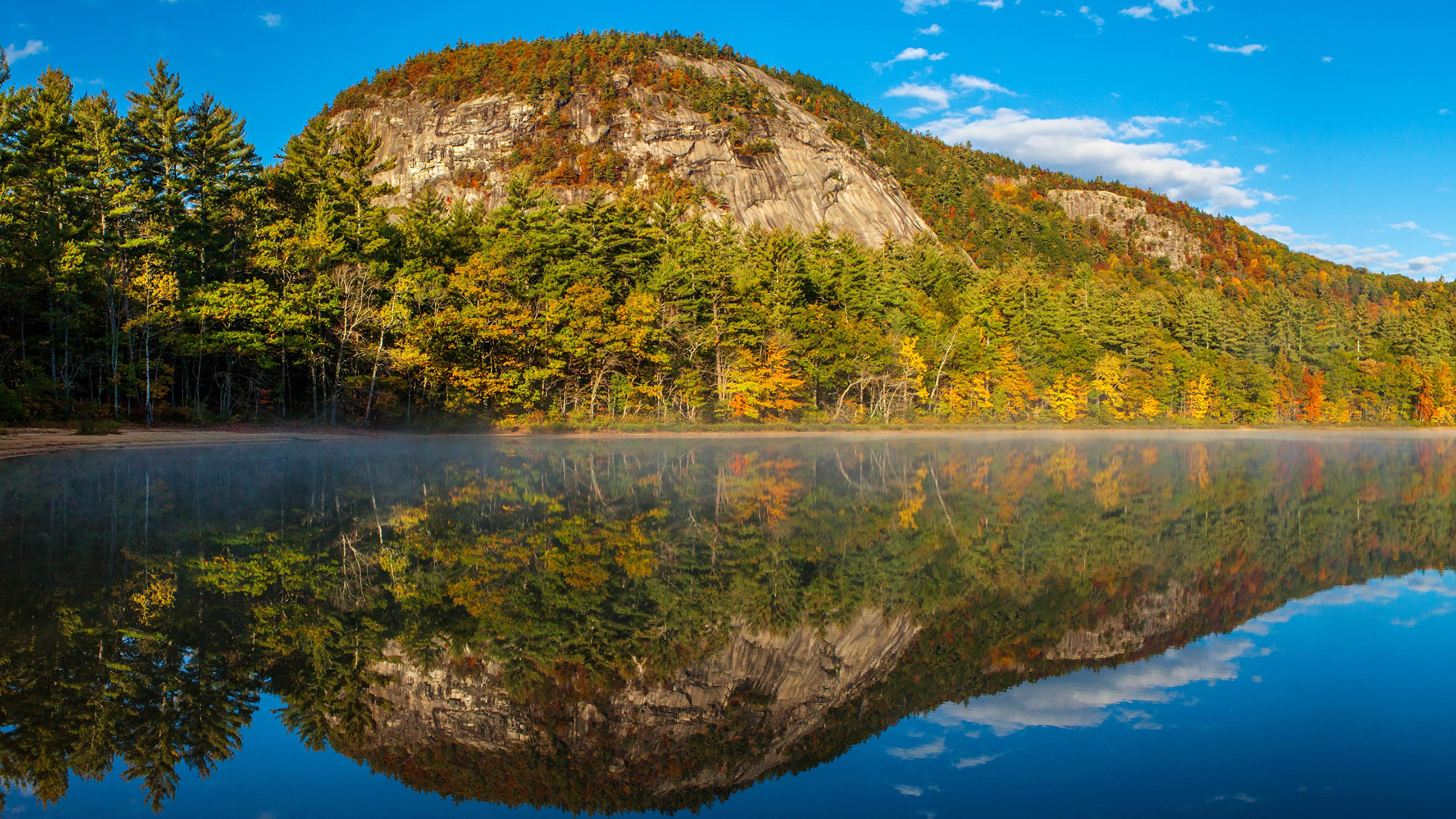 природа деревья осень озеро отражение горы загрузить