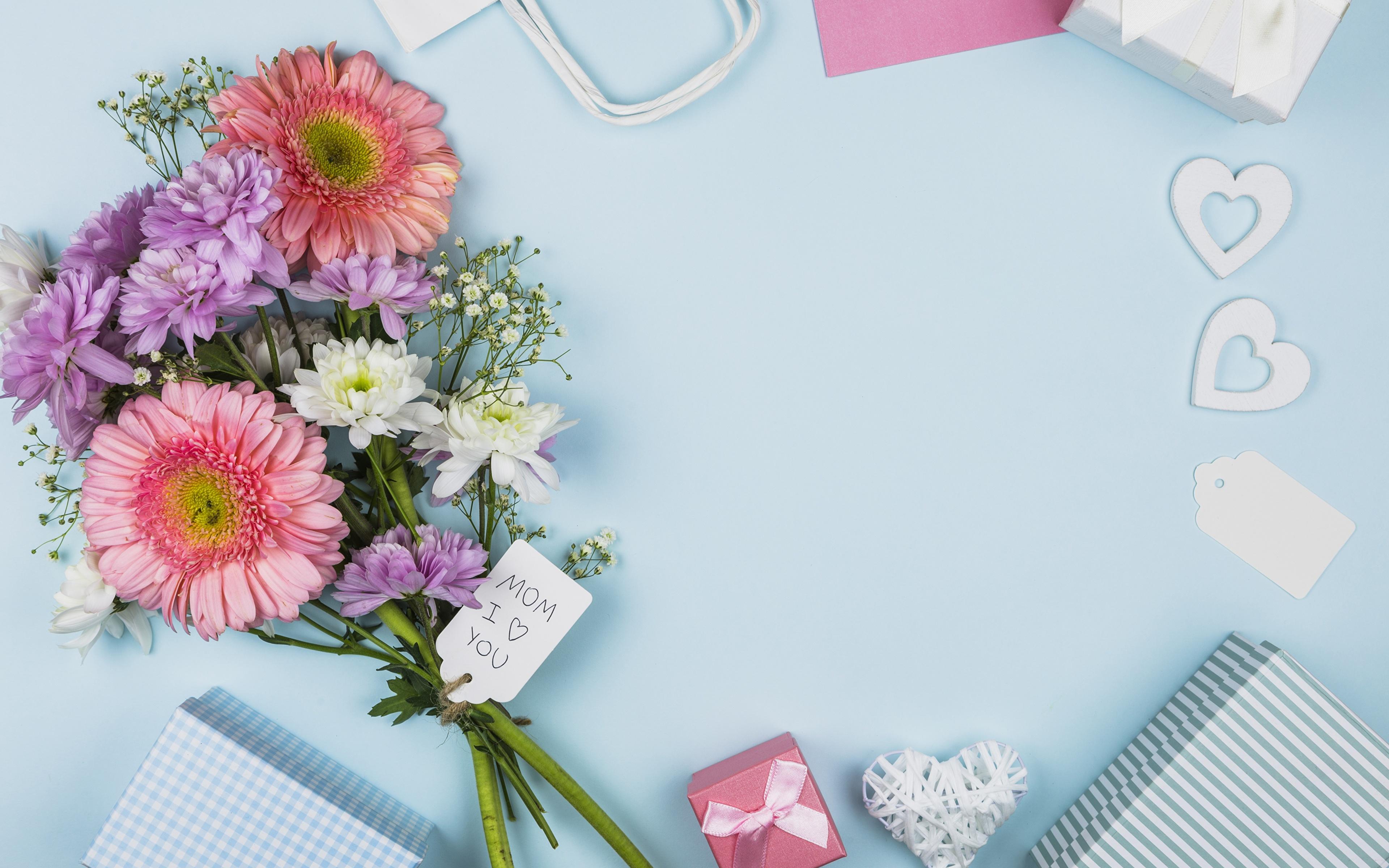 Картинки цветок букет Герберы Шаблон поздравительной открытки День матери Праздники 3840x2400 Цветы Букеты гербера