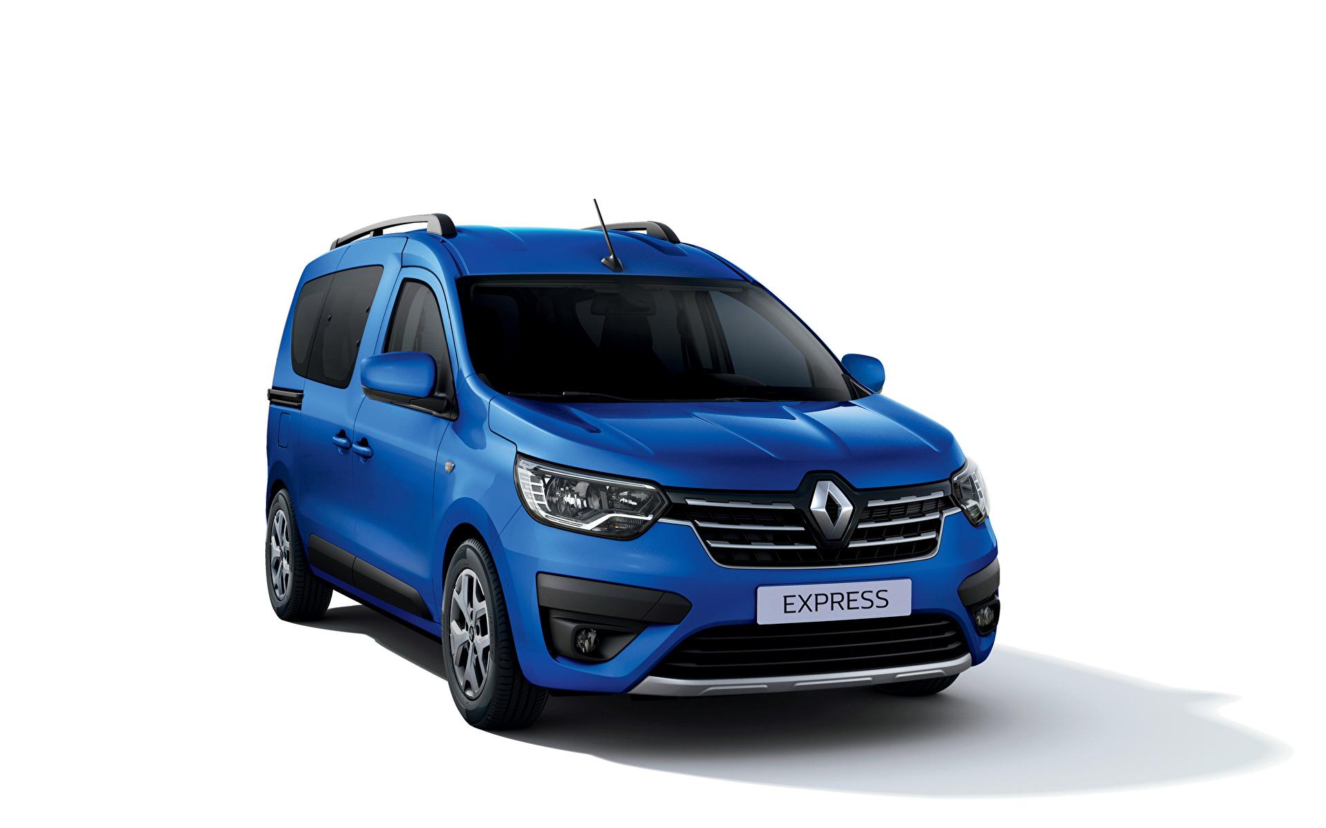 Фотографии Renault Express, 2021 Минивэн Синий машина Металлик белым фоном 1920x1200 Рено синяя синие синих авто машины Автомобили автомобиль Белый фон белом фоне