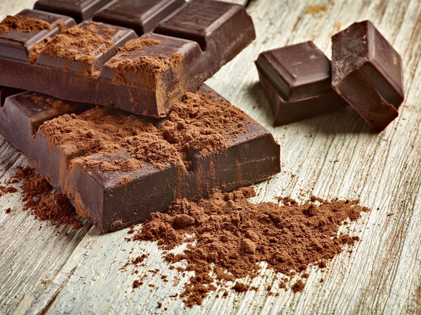 Картинки Пища Шоколад Доски Какао порошок сладкая еда шоколадка 1600x1200 Еда Продукты питания Сладости Шоколадная плитка