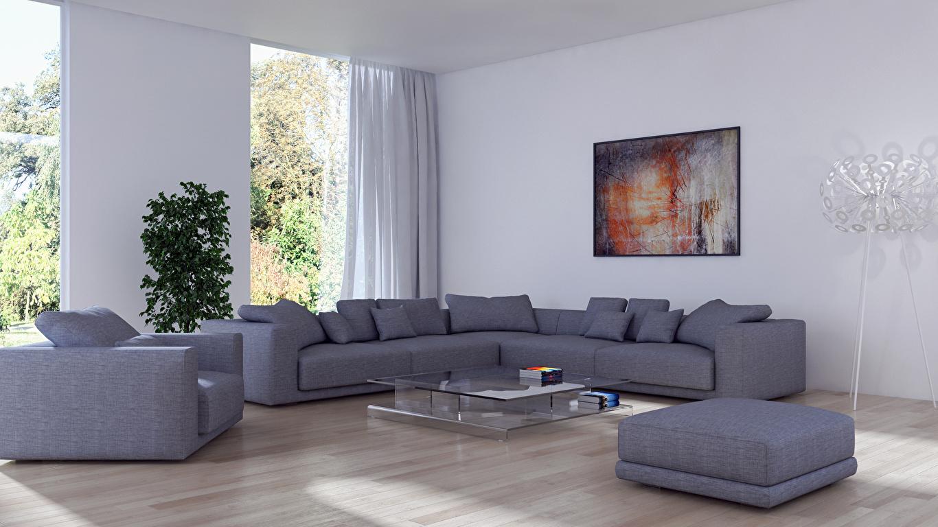 Обои для рабочего стола гостевая 3д Интерьер Диван Кресло дизайна 1366x768 Гостиная 3D Графика диване Дизайн