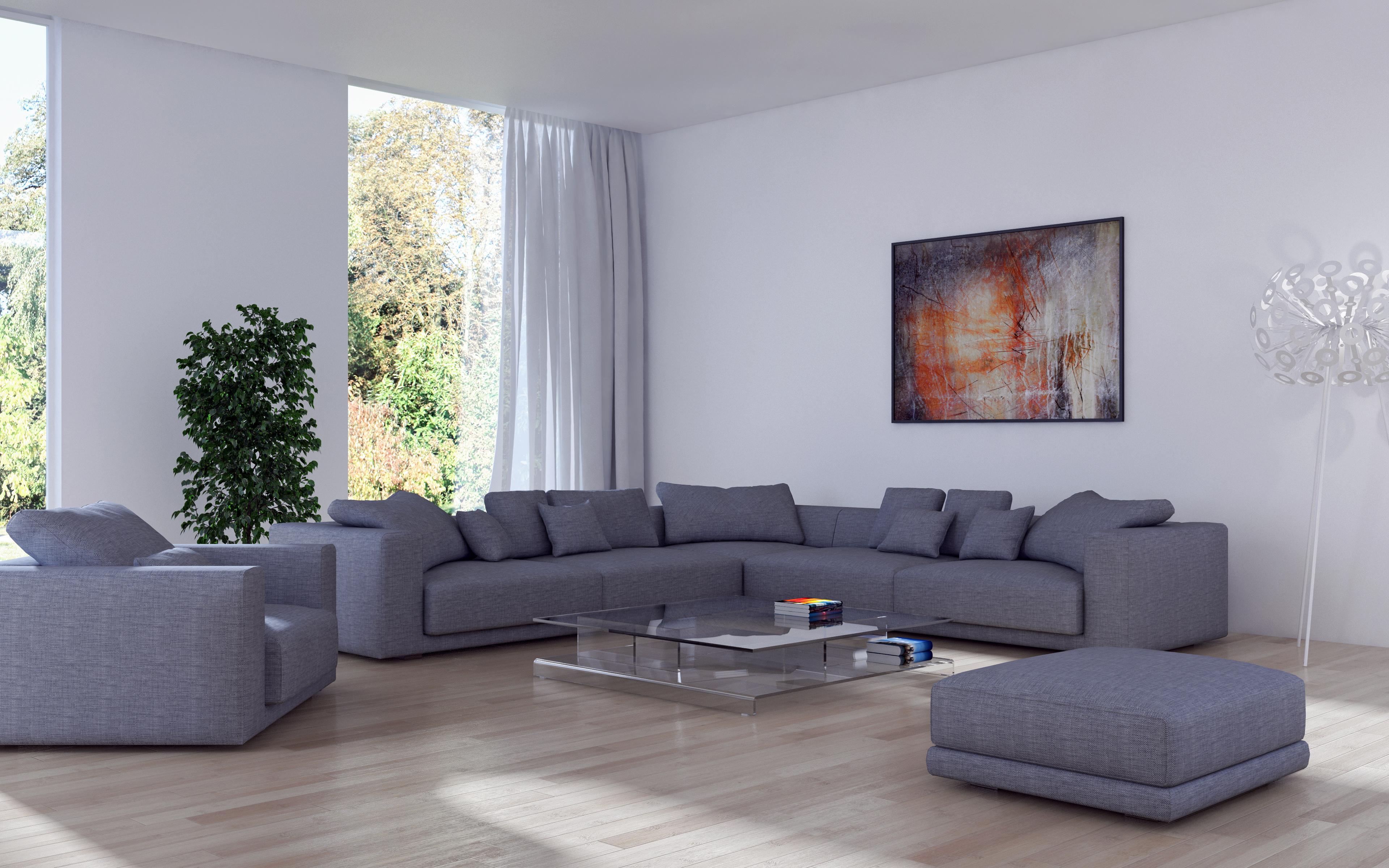 Обои для рабочего стола гостевая 3д Интерьер Диван Кресло дизайна 3840x2400 Гостиная 3D Графика диване Дизайн