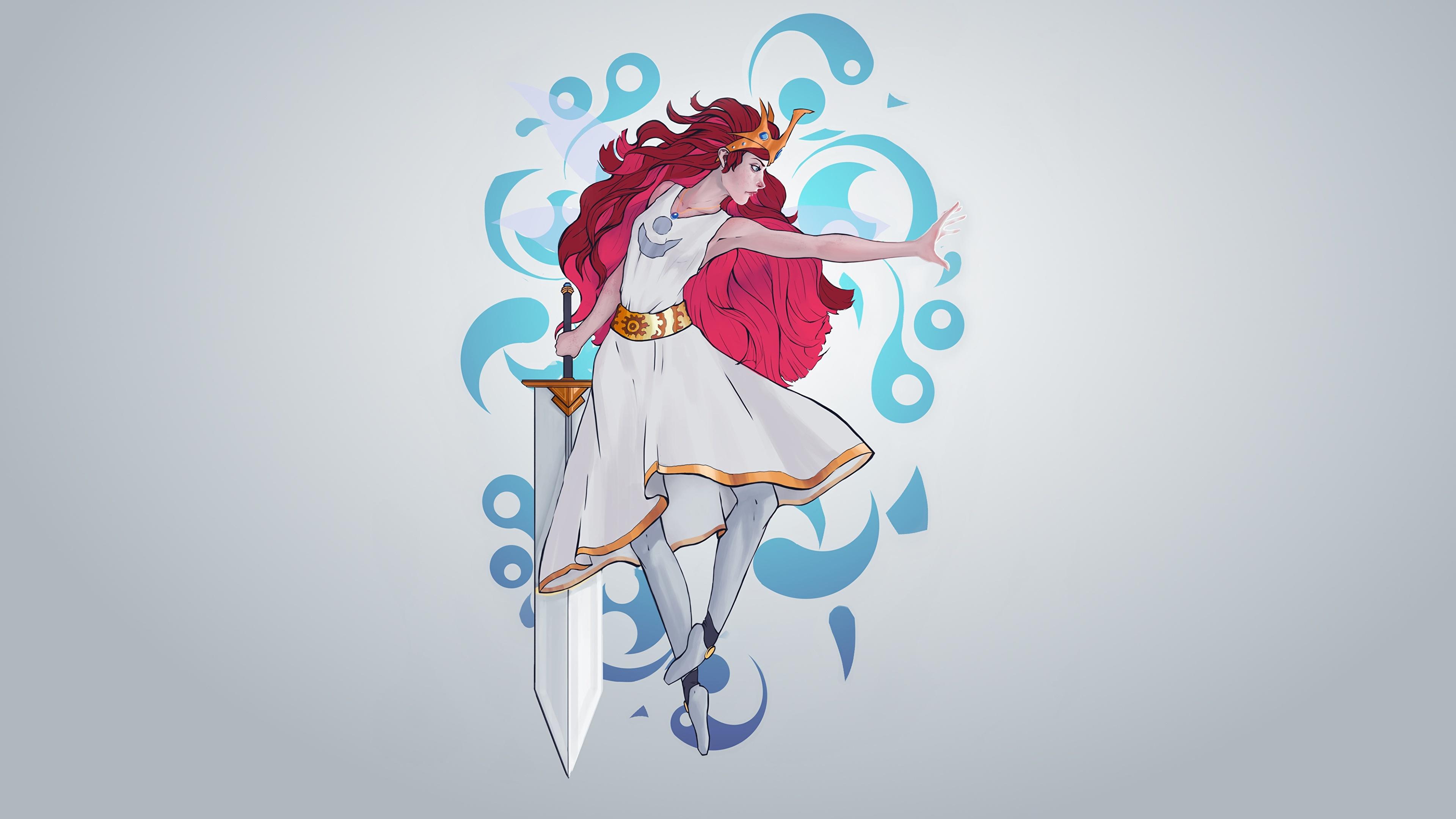 Фото Мечи Воители Aurora, Child of Light, by Guilherme de Abreu девушка сером фоне Рисованные Платье 3840x2160 меч меча с мечом воин воины Девушки молодая женщина молодые женщины Серый фон платья