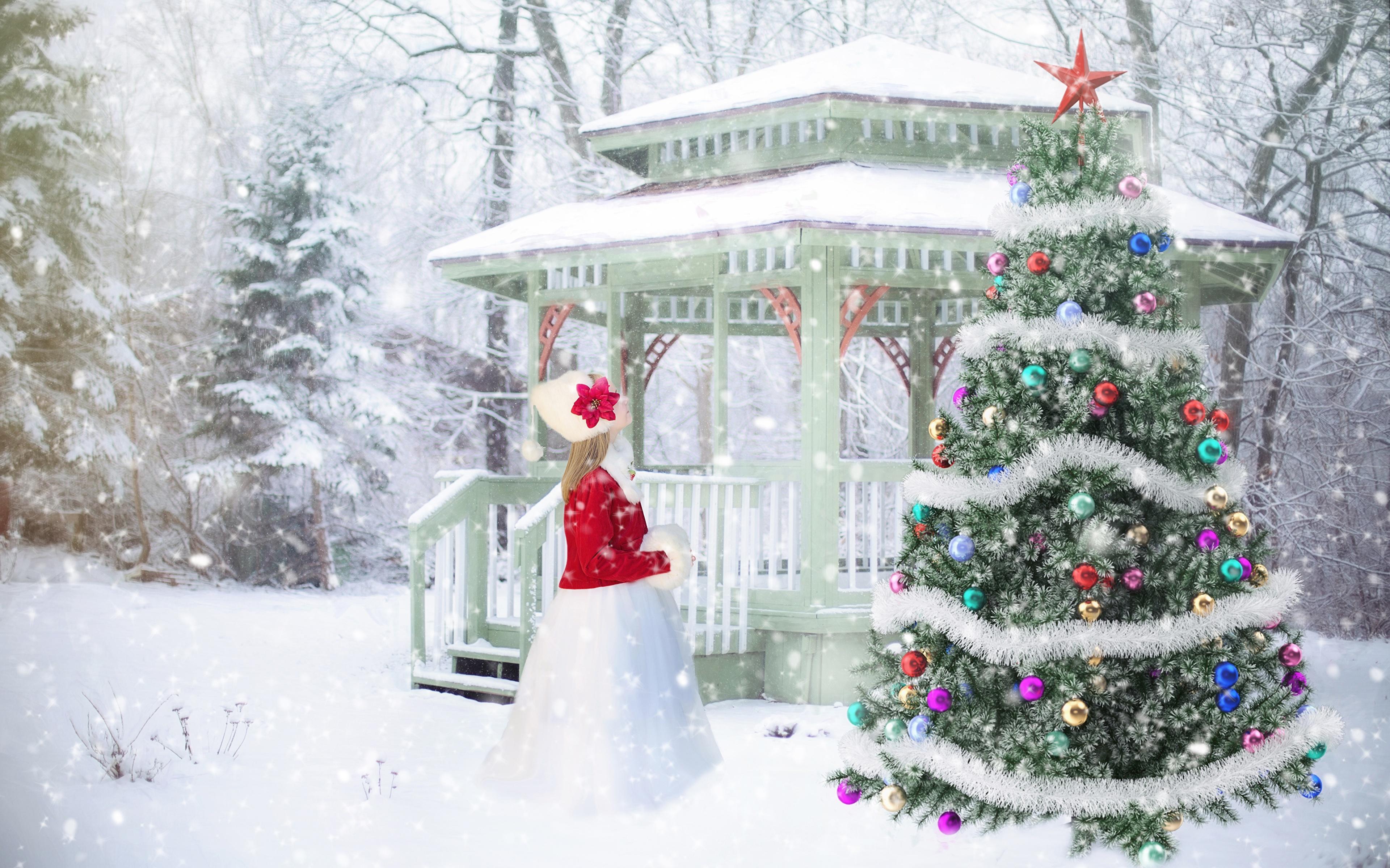 Обои новый год зима снег