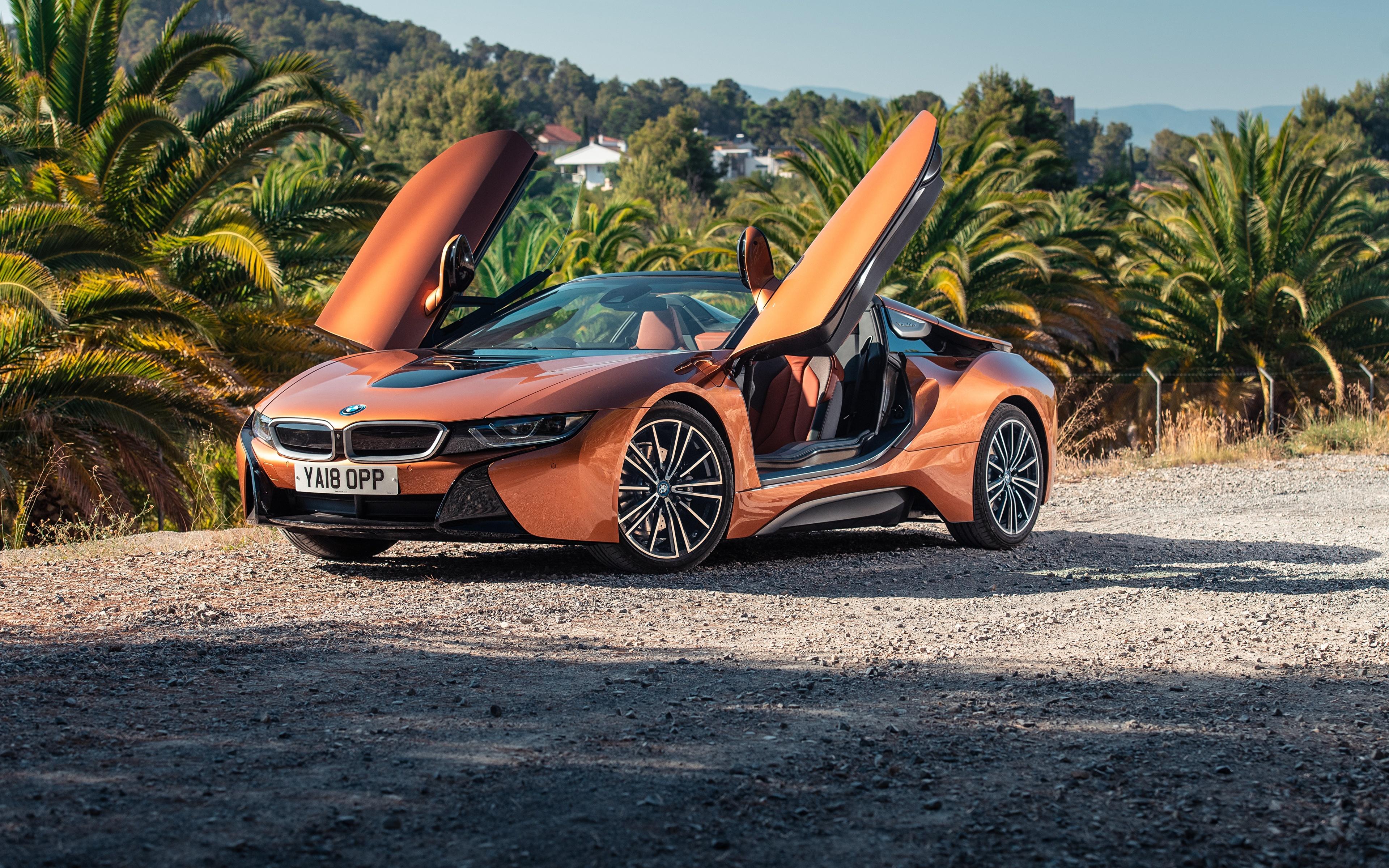 Картинка BMW 2018 i8 Родстер Оранжевый авто 3840x2400 БМВ оранжевых оранжевые оранжевая машина машины автомобиль Автомобили