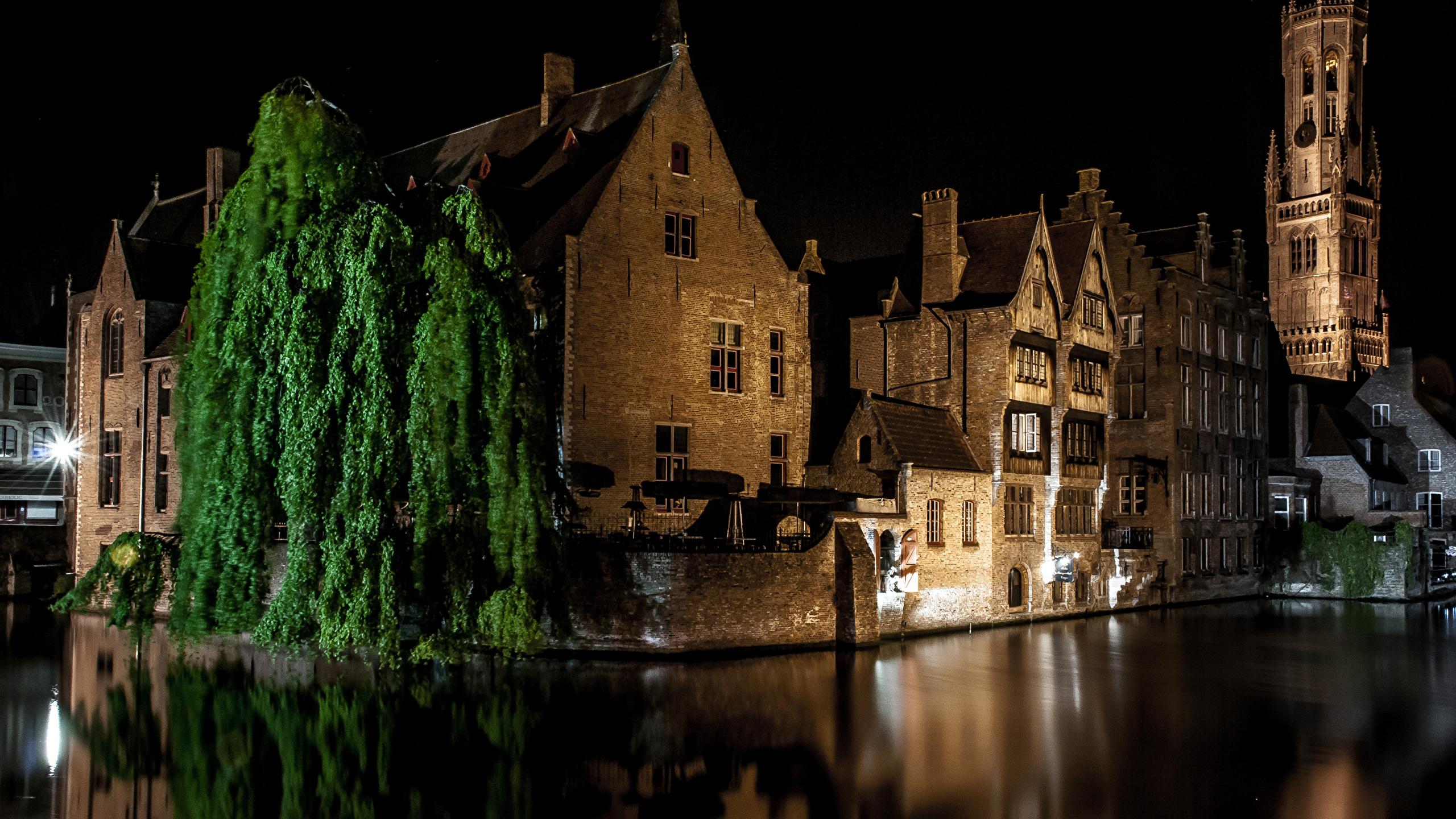Обои канал, бельгия, брюгге, дома, ночь. Города foto 15
