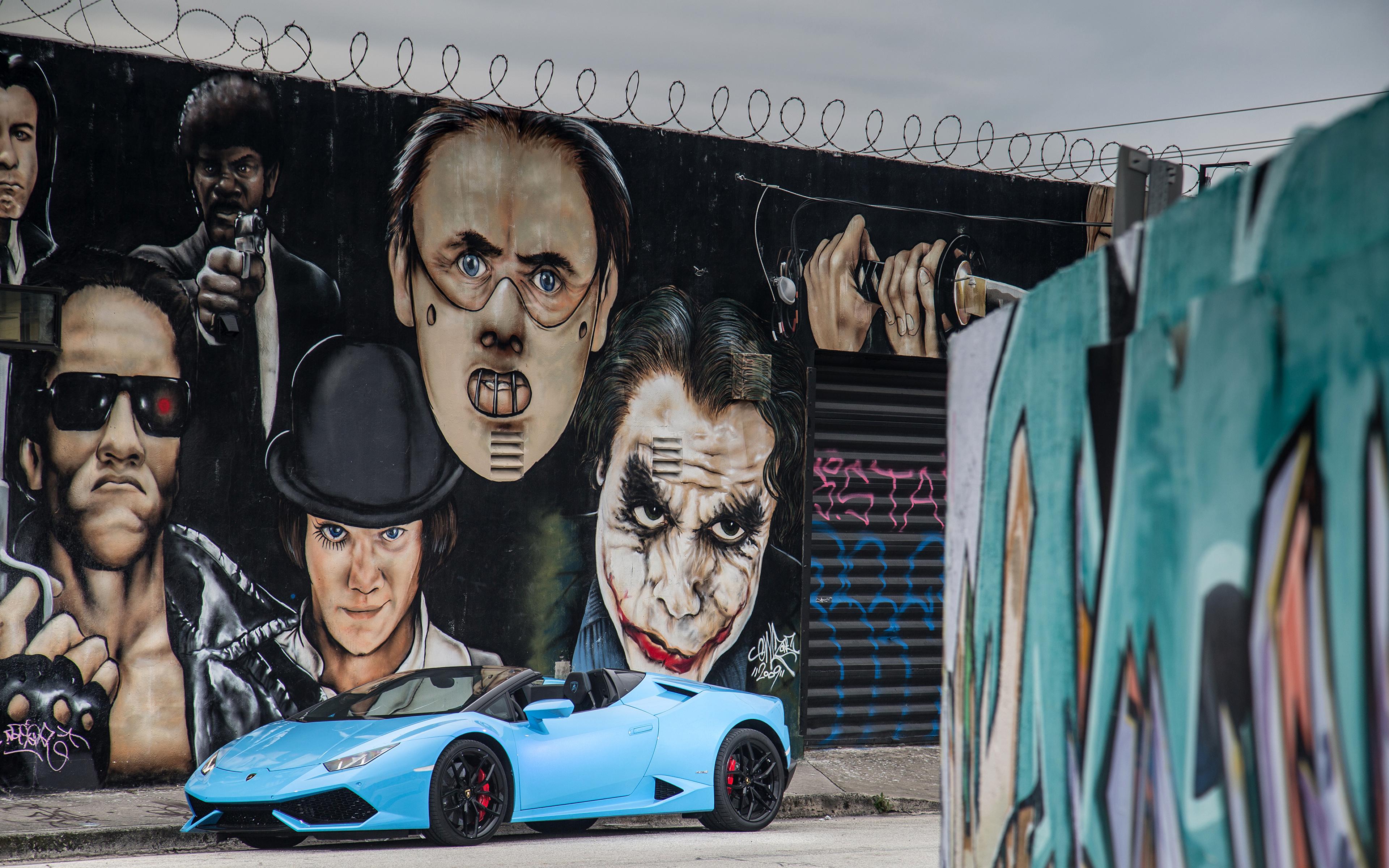 Фото Lamborghini 2015-16 Huracán LP 610-4 Spyder Кабриолет Голубой Граффити Металлик Автомобили 3840x2400 Ламборгини кабриолета голубых голубые голубая авто машина машины автомобиль