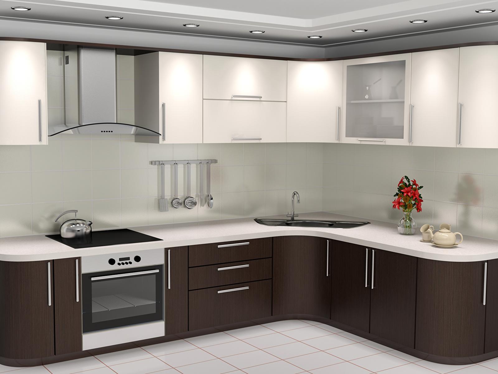 Фото кухни 3D Графика Интерьер дизайна 1600x1200 Кухня 3д Дизайн