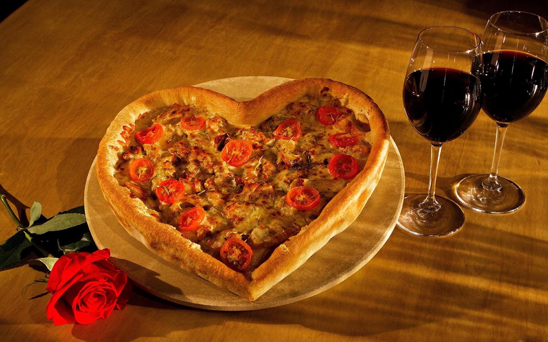 Фото серце Пицца Продукты питания 1920x1200 Сердце сердца сердечко Еда Пища