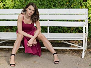 Фотография Скамья Сидит Ноги Платье Смотрят Модель Agnieszka Borkowska молодые женщины