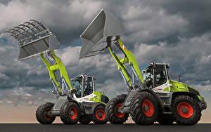 Картинки Сельскохозяйственная техника Двое Ковшовый погрузчик Claas Torion Sinus 644 Claas Torion Sinus 956