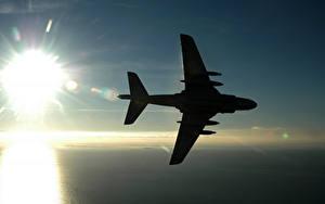 Обои Самолеты Силуэта Солнца Авиация