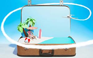Картинки Самолеты Чемодан Пляж Пальмы Зонт Мяч