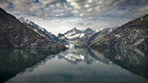 Фотографии Аляска Гора Речка Johns Hopkins Glacier