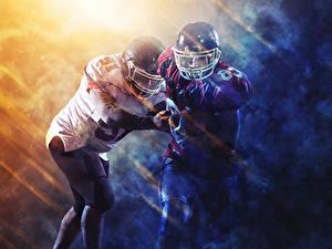 Фотографии Американский футбол 2 Униформа Шлем Спорт