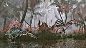 Фотография Древние животные Динозавр Вдвоем Spinosaurus 3D_Графика