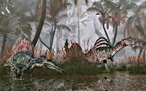 Фотография Древние животные Динозавр Вдвоем Spinosaurus Животные 3D_Графика