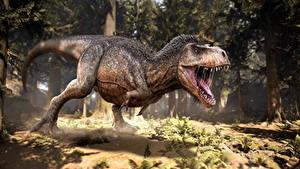 Картинка Древние животные Динозавры Тираннозавр рекс Оскал 3D_Графика