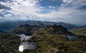 Обои Андорра Гора Озеро Небо Облачно Juclar Lakes Природа
