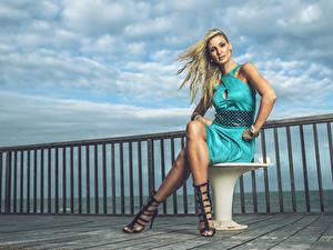Фотография Блондинки Ноги Платье Туфли Сидящие Andreia Schultz девушка