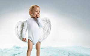 Картинка Ангелы Мальчики Младенцы Улыбается