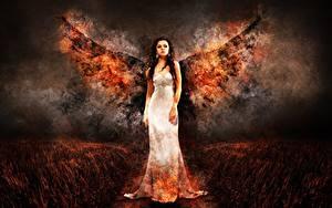 Фотография Ангелы Пламя Платье Фантастика Девушки