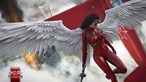 Фотографии Ангелы War Thunder Крылья Красивые hibikirus Игры 3D_Графика Девушки