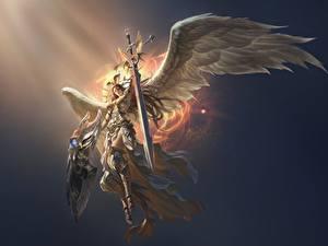Обои для рабочего стола Ангелы Воители League of Legends Мечи Крылья Доспехе victoria компьютерная игра Фэнтези Девушки