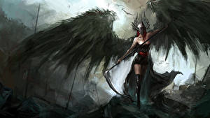 Картинки Ангелы Крылья С косой Шлем Фэнтези Девушки