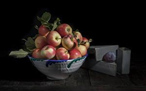 Обои для рабочего стола Яблоки Миска Продукты питания