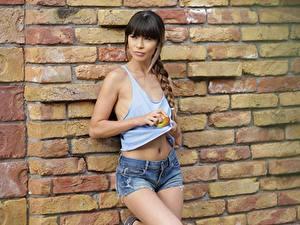 Картинка Яблоки Стена Кирпичный Шатенки Косы Смотрят Рука Шорт Mona Kim молодые женщины
