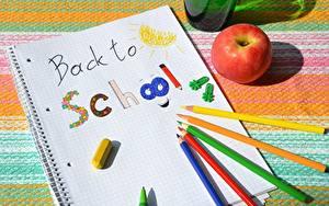 Фотография Яблоки Школьные Бумага Карандашей Разноцветные Английский