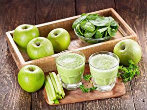 Картинка Яблоки Овощи Смузи Доски Стакан Пища