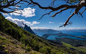 Фотография Аргентина Горы Озеро Небо Пейзаж Ветка Bariloche, Patagonia