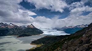 Картинки Аргентина Гора Облака Perito Moreno Glacier, Patagonia Природа