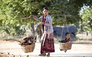 Картинки Азиаты Женщины Корзинка Младенцы Работает