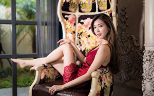 Картинка Азиаты Кресло Платье Смотрят Размытый фон
