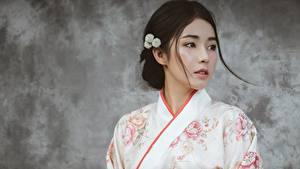 Фото Азиаты Красивые Кимоно Шатенка Девушки
