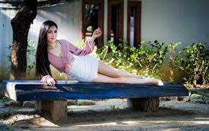 Фотографии Азиаты Скамейка Позирует Лежит Юбка Блузка Улыбается Взгляд Брюнеток девушка