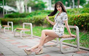 Фотография Азиатка Скамья Сидя Ноги Платье Шатенка Смотрит Девушки