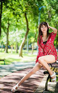 Картинка Азиаты Скамейка Сидит Ног Платье Смотрит Девушки