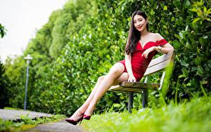 Обои Азиатки Скамья Сидит Ноги Платье Улыбка Боке молодая женщина