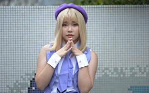 Фотография Азиаты Блондинки Косплей Руки Взгляд Девушки