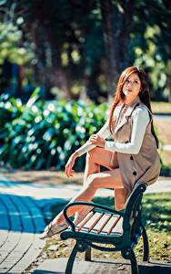 Обои для рабочего стола Азиаты Размытый фон Скамья Сидя Ноги Шатенка молодые женщины