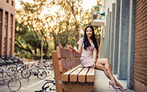 Фотографии Азиаты Боке Скамейка Сидящие Туфель Ноги Платье Улыбка Брюнетка Красивая