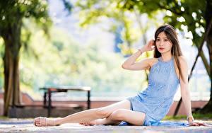 Обои Азиатка Размытый фон Шатенки Платья Рука Ног Сидящие девушка