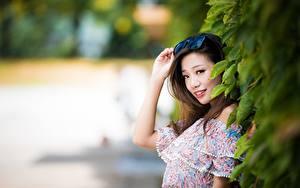 Фотография Азиатка Размытый фон Шатенки Очки Руки Смотрит Улыбается девушка