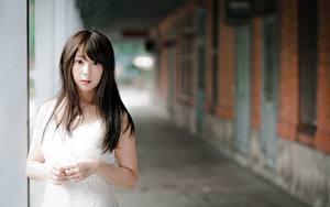 Обои Азиатка Размытый фон Брюнетки Рука Смотрит Девушки