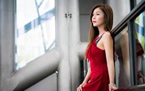 Картинка Азиаты Боке Платье Смотрит Девушки