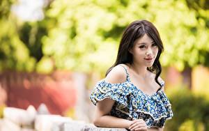 Фотографии Азиатки Боке Платье Взгляд Шатенка